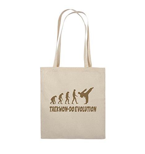 Comedy Bags - TAEKWON-DO EVOLUTION - Jutebeutel - lange Henkel - 38x42cm - Farbe: Schwarz / Silber Natural / Hellbraun