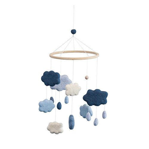 Sebra - Filz-Babymobile - Mobile - Windspiel - Wolken - royal Blue