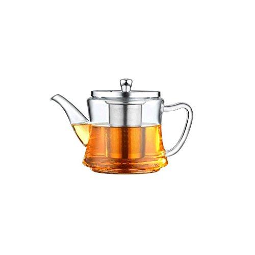 Théière Ensemble de thé en Acier Inoxydable Filtre en Verre résistant à la Chaleur cuisinière à Induction Pot à thé Multi-usages 1200ml GAODUZI