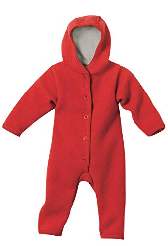 Extra Lange Wolle Anzug (Disana 36103XX - Walk-Overall Wolle rot, Size / Größe:74/80 (6-12 Monate))