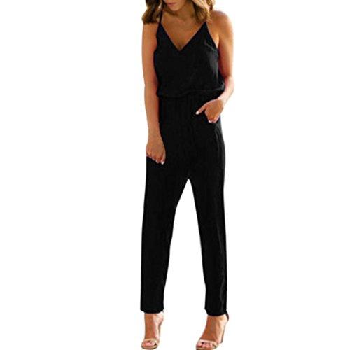 VEMOW New Fashion Elegant Damen Damen Strappy V-Ausschnitt Tasche Playsuit Bodycon Party Täglich Beach Clubwear Jumpsuit(Schwarz, EU-42/CN-L) (70 Fashion Kleid)