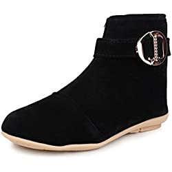 Do Bhai Boot-Daimond-Buckle Fashionable, Stylish & Smart Casual Boots for Women (EU39, Black)