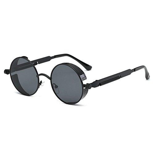 Steampunk gafas de sol redondas góticas para hombres mujeres hibote gafas de sol retro punk vintage UV400 C7