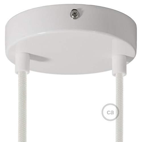 Creative-Cables Kit 2 Loch Baldachin weiß 120 mm mit zylindrischer Kunststoff Zugentlastung in weiß. - Weißen Baldachin Kit