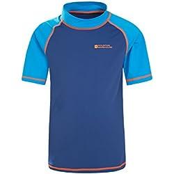Mountain Warehouse T-Shirt Enfants Anti-UV - Protection solaire UPF50+, Séchage rapide, coutures plates - Pour nager et sous une combinaison de plongée Bleu 13 ANS