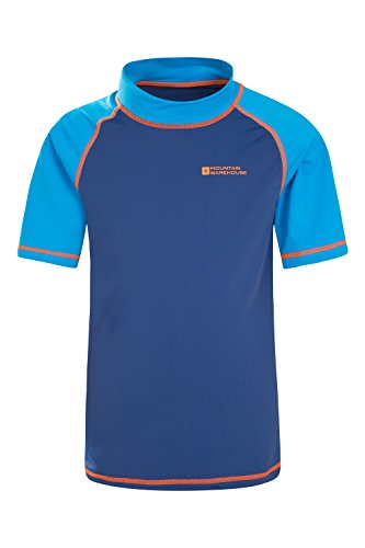 Mountain Warehouse Rash Vest Boys Girls Swimming Beach Quick Dry Swim UV Wetsuit Short Sleeve Top Blue 11-12 years