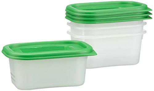 Rotho Domino 4er Set Vorratsdosen, Kunststoff (BPA - frei), grün / transparent, 4 x 0.4 Liter (11,7 x 7,5 x 5,3 cm)