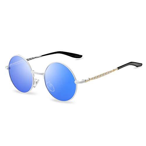 (AMZTM Süß Steampunk Sonnenbrille für Kinder Mädchen Jungen Polarisierte Punk Stil Verspiegelte Gläser, Kleine Runde Brille (Weiß Rahmen Blaue Linse))