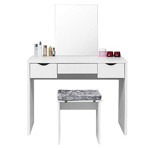 Laneetal Schminktisch 3 Schubladen mit Hocker und Spiegel, große Tischplatte 100x50cm, Moderner Frisiertisch, Weiß