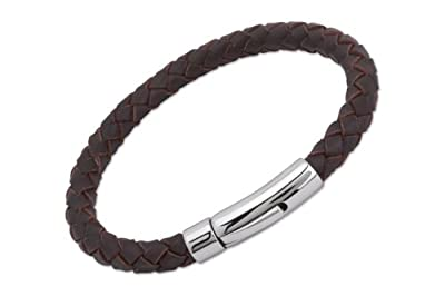 Unique Men 21cm Dark Brown Leather Bracelet with Stainless Steel Clasp
