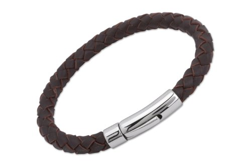 unique-men-21cm-dark-brown-leather-bracelet-with-stainless-steel-clasp