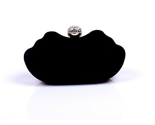 Frauen Taschen Abend Hochzeit Clutch Kleid Samt Handtasche Schulter black
