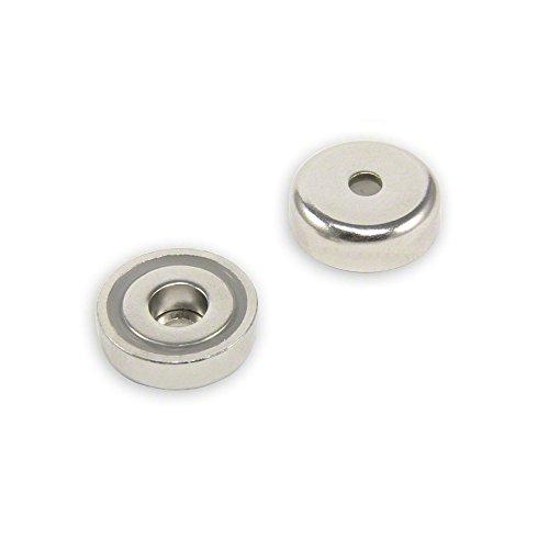F4MB25-1 c/Bohrung N42 Neodym-magneten Topf, 20 kg Pull, 1 Packung, Metall, silber, 25 mm Durchmesser x 8 mm Dicke x 5,5 mm