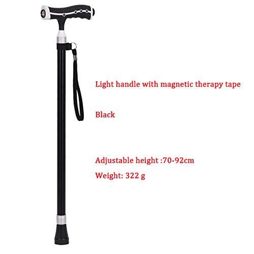 HGBKJUO-GZ Spazierstock, Gehstock mit LED Licht Klappbar Leichtgewichtiger Canes Gehhilfen Krücken für Senioren Höhenverstellbarer mit Massagegriff Ausziehbarer Anti-Rutsch,Black1