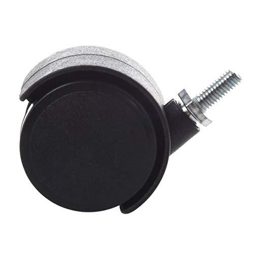 311yqZuFtNL - Pie de rueda - 6 milímetros vástago roscado 40 milímetros de doble rueda giratoria Caster negro Herramienta necesaria