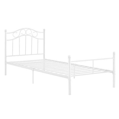[en.casa] Cama de metal 120x200 blanca estructura base con somier