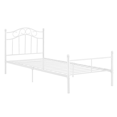 [en.casa]®] Cama de Metal 90x200 Blanca armazón Cama Estructura Base con somier