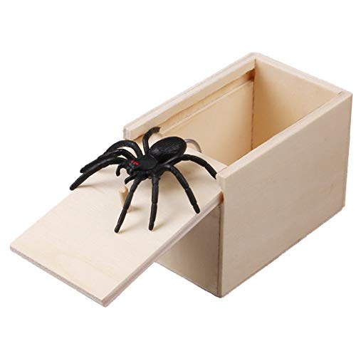FXCO Überraschung Box mit Spinne Neuheit Urkomisch Scare Box Spinne Streich Holz Scarebox Witz Gag Spielzeug Kein Wort Geschenk Box