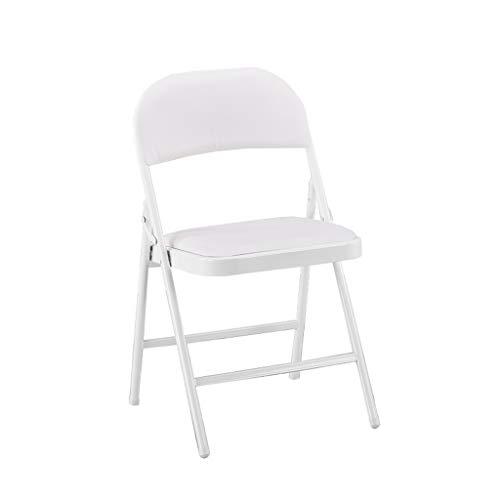 KHL Arbeiten Sie hochwertigen ledernen Klappstuhl, einfachen modernen Hauptspeisetisch und Stuhl, Multifunktionsstudenten-Schlafsaal-Computer-Stuhl-Büro-Aufenthaltsraum-Stuhl um (Farbe : Weiß)
