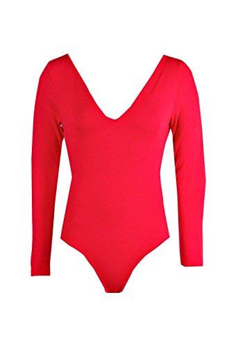 Femmes Red Leah Basic Long Sleeve V Neck Body red