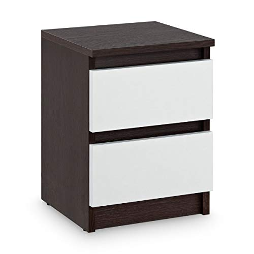 Galdem Nachttisch mit 2 Schubladen Nachtkommode Nachtkonsole Beistelltisch Nachtschrank Wenge Weiß