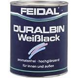Feidal Duralbin Weisslack auf Alkydharzbasis / Lösemittelbasis / reinweiss / weiss RAL 9010 / hochglanz / 750 ml / Malerqualität für höchste Ansprüche / f. Holz, Stahl, Metall / f. Industrie u. Handwerk