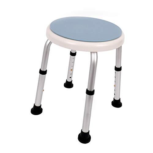 MCLY Bad Hocker, Blauer Tragbarer Runder Duschhocker Aus Aluminiumlegierung Mit Verstellbarer Höhe/Ältere Menschen/Behinderte/Schwangere/Bad -
