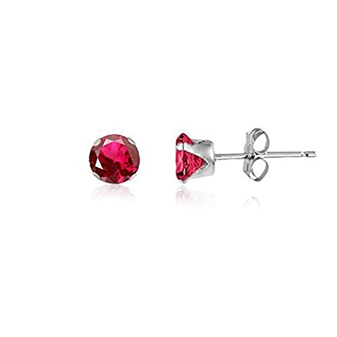 4MM Classic Brilliant Round Cut CZ Sterling Silver Stud Earrings - RUBY RED or Choose From 13 Colours. 4-RUBY