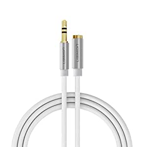 Ugreen 3.5mm Male to Female Extension Stereo Auxiliary Cable Male to Female Gold Plated Compatible for iPhone, iPad or Smartphones, Tablets, Media Players 3ft/1m,White