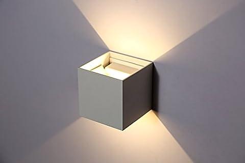 Topmo 10W LED Wandlampe mit einstellbar Abstrahlwinkel Wasserdichte IP65 Wandbeleuchtung Quadrat LED Außenwandleuchten ersetzt 80W warmweiß (3000K), 700 Lumen, weiß