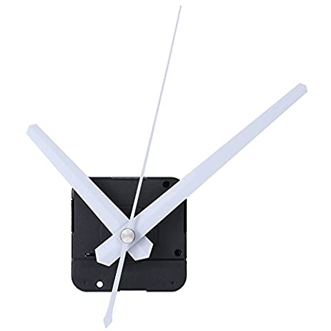 Mudder DIY Mécanisme de Mouvement de l'Horloge, 4/25 Pouces Épaisseur Maximale de Cadran, 3/5 Pouces Longueur Totale de l'Arbre(Blanc)