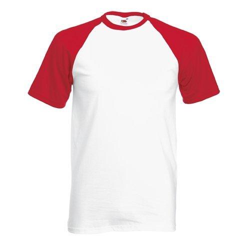 Weiße Baseball-t-shirt (Shortsleeve Baseball T-Shirt von Fruit of the Loom S M L XL XXL verschiedene Farben S,Weissrot)