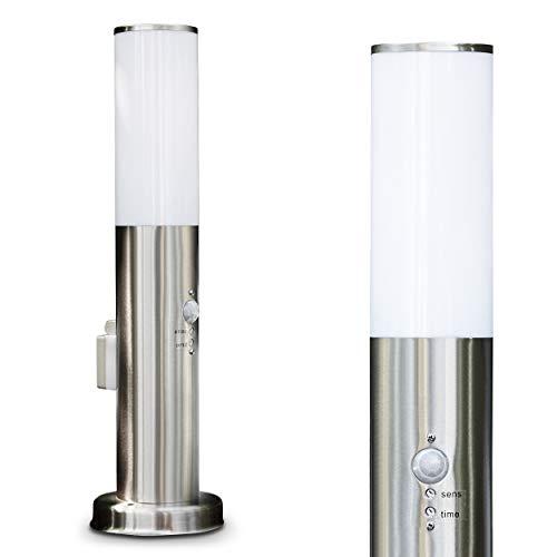 Sockelleuchte Caserta aus Edelstahl mit Bewegungsmelder - Pollerleuchte mit Steckdose - Außen Sockellampe mit max. 40 Watt