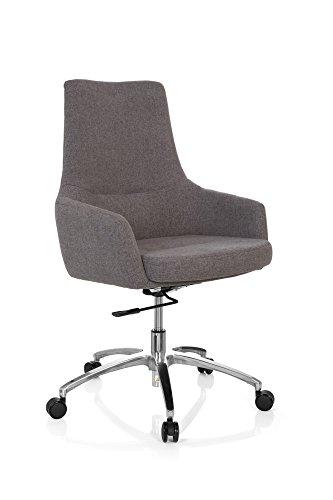 hjh OFFICE 670921 Design Drehsessel SHAKE 100 Stoff Grau Büro Lounge-Sessel mit Lehne...