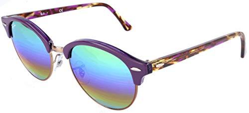 RAYBAN JUNIOR Unisex-Erwachsene Sonnenbrille Clubround, Metallic Medium Bronze/Lightgreymirrorrainbow2, 51