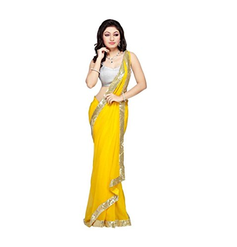 Tryme Fashion Women's Georgette Saree With Blouse Piece (Partysarees_Patli1, Yellow, Free Size)