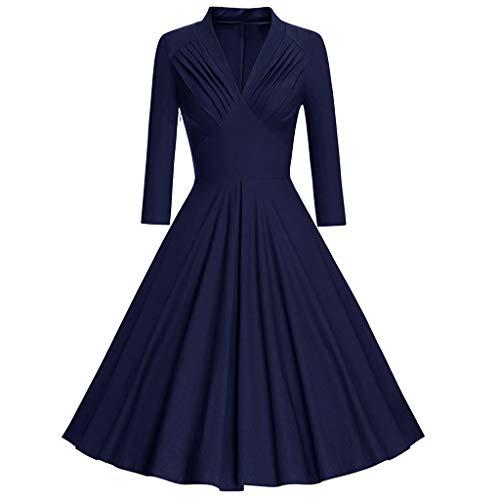 POIUDE Ausverkauf Damen Vintage 50er Rockabilly Kleid Retro Faltenrock Party Cocktailkleid Bestickte Ärmel Netz Tutu(Marine, XX-Large)