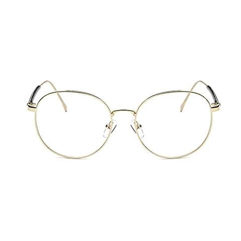 QHGstore Fashion Eyeglass Vintage Frame Transparent Lunettes Retro uni Objectif optique or / A / (Vetro Occhiali)
