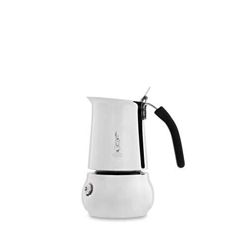 Bialetti 0004888/IN Caffettiera Acciaio Inossidabile New Kitty 2 Tazze, 2 Cups, 18/10_Steel, Grigio