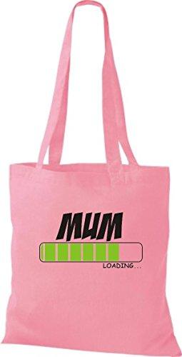 Shirtinstyle Borsa Di Stoffa Borsa Di Cotone Mamma Caricamento Colore Rosa Rosa