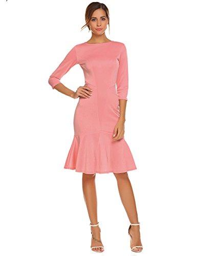 Meaneor Damen Herbst/Winter Meerjungfrau Figurbetontes Kleid Einfarbig Etuikleid Basic Businesskleid Cocktailkleid mit 3/4 Ärmel Rosa