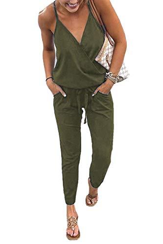 6092685f579f Ajpguot Verano Mujer V-Cuello Sin Mangas Monos Color sólido Mamelucos Sexy  Sin Respaldo Jumpsuits de Playa Rompers (XL, Ejército Verde)