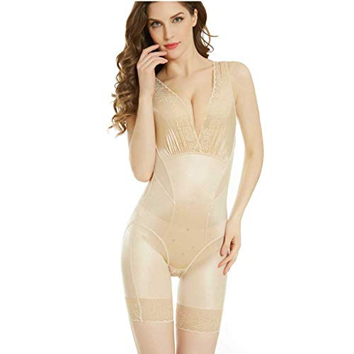 fende Damen Open File BH Hip-Lifting Sleepwear Body-Shaping-Kleidung mit Bauch und Taille Korsetts Body (2XL, A-Khaki) ()