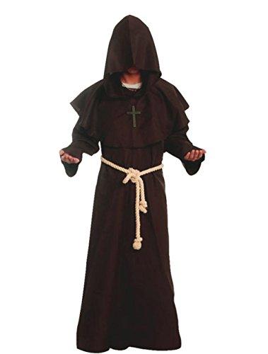Kostüm Robe Hooded Brown - Mönch Robe Prister Gewand Kostüm Medieval Hooded Monk Costume Fancy Dress Priest Robe