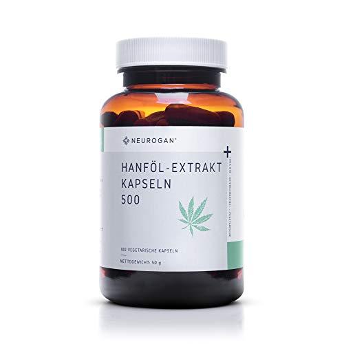 NEUROGAN´s Hanföl-Extrakt Kapseln 500MG / NEU / vegetarisch, glutenfrei / 100 Stück / geschmacklose Alternative zu purem Hanföl-Extrakt