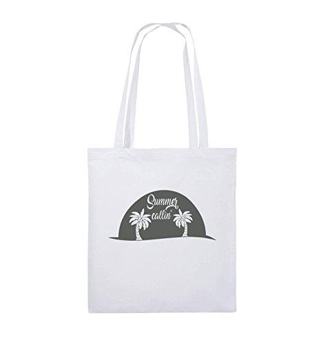 Comedy Bags - Summer callin - PALMEN - Jutebeutel - lange Henkel - 38x42cm - Farbe: Schwarz / Silber Weiss / Grau