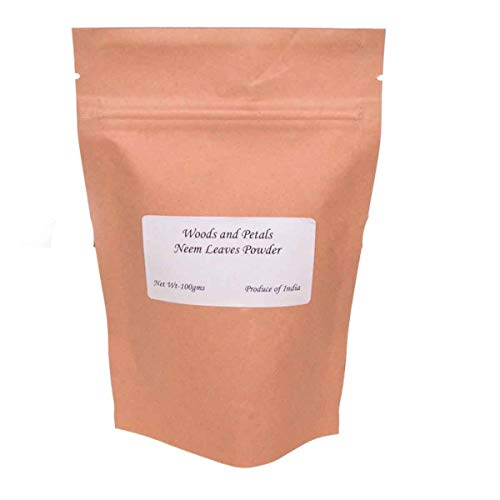 Neem Leaves Powder (AZADIRACHTA INDICA) 100% Natural Face Mask 100 gms (3.52 OZ) Zip Lock Pouch By Woods and Petals Leaf Zip