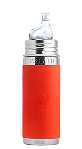 Pura Kiki Babyflasche mit Trinklern Aufsatz Isolierflasche, Edelstahl mit Silikonhülle Sleeve, 250 ml, plastikfrei Orange