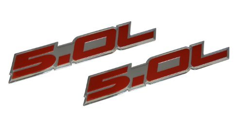 Unbekannt 2 x (Pair/Set) 5.0L Emblems in Red on Highly Polished Aluminum Silver Chrome Engine Swap Badge for Ford Mustang GT F-150 Boss 302 Coyote Cobra GT500 V8 Crown Vic Victoria