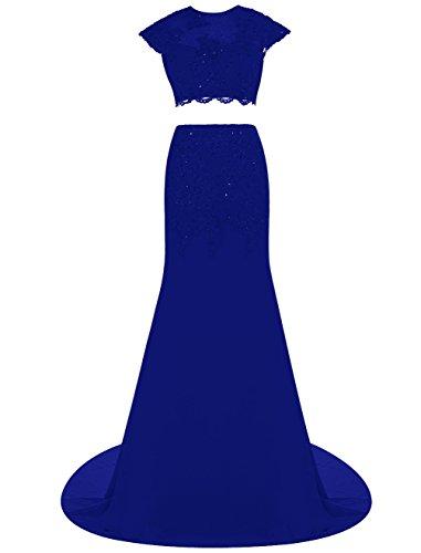Dresstells, Robe de cérémonie Robe de soirée mousseline deux pièces avec appliques traîne moyenne Bleu Saphir